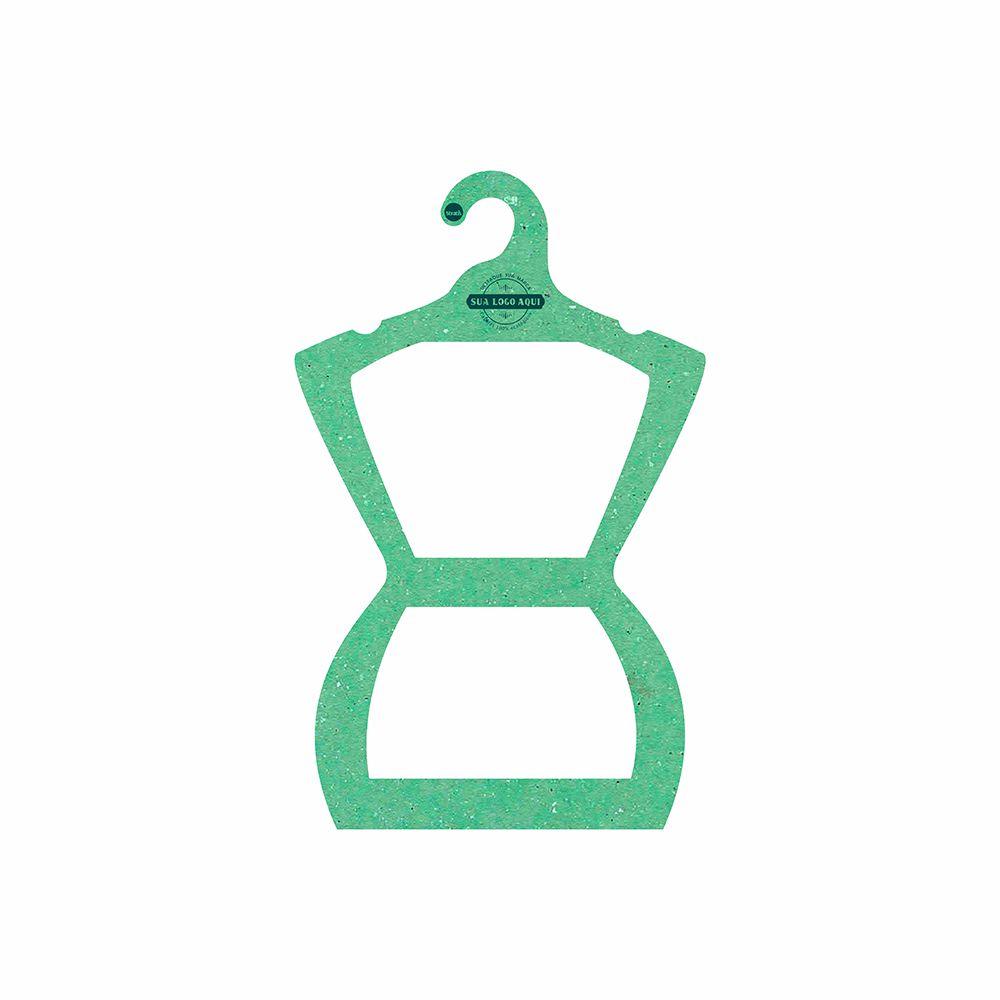 Cabide Ecológico Personalizado com sua Logo - Silhueta Juvenil  - Verde Claro - CS108