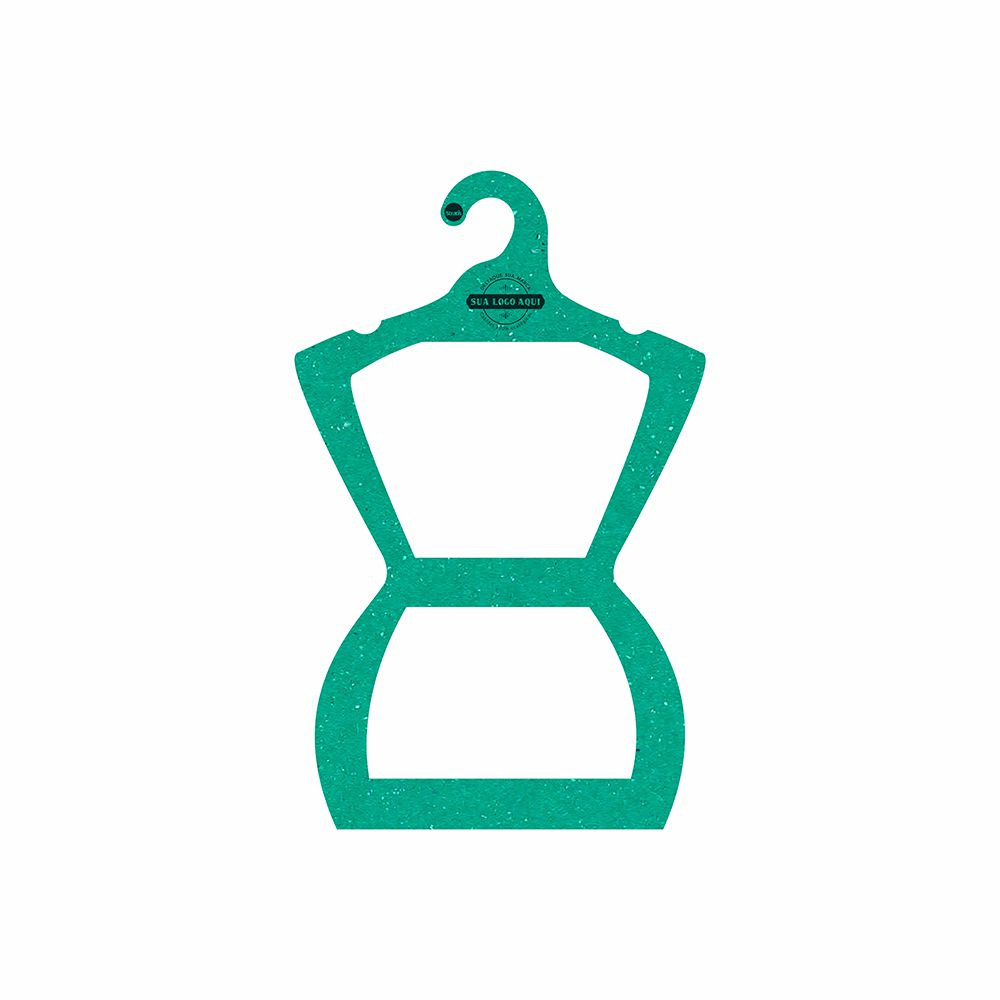 Cabide Ecológico Personalizado com sua Logo - Silhueta Juvenil  - Verde - CS108