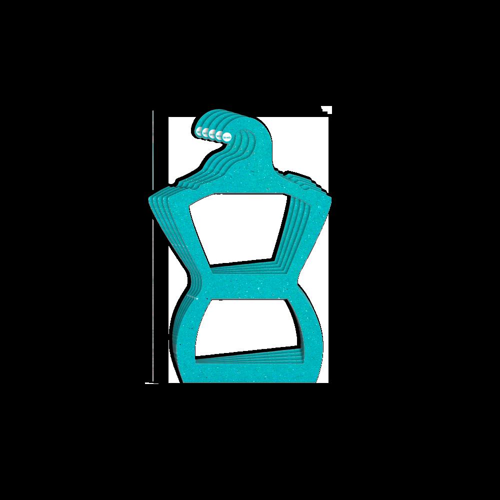 Cabide Ecológico Silhueta Adulto - Azul Ciano -  CS109