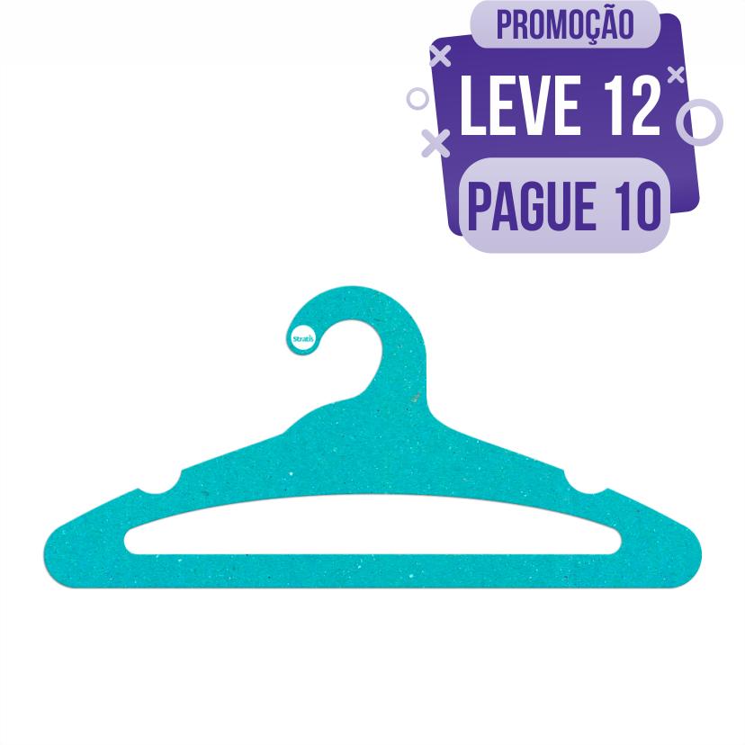 Leve 12 Pague 10  - Cabide Ecológico Adulto Aberto -  Azul Ciano - CS105