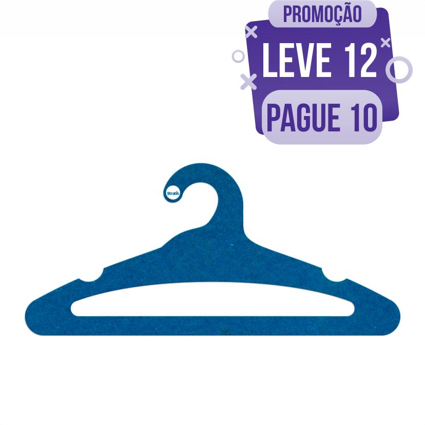 Leve 12 Pague 10  - Cabide Ecológico Adulto Aberto -  Azul Royal - CS105