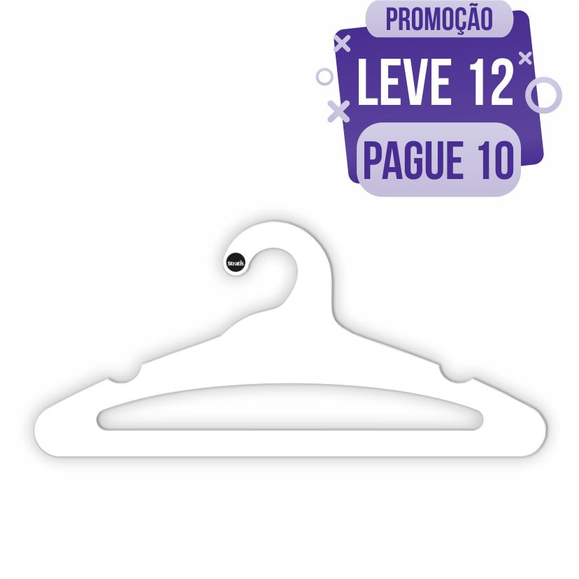 Leve 12 Pague 10  - Cabide Ecológico Adulto Aberto -Branco - CS105