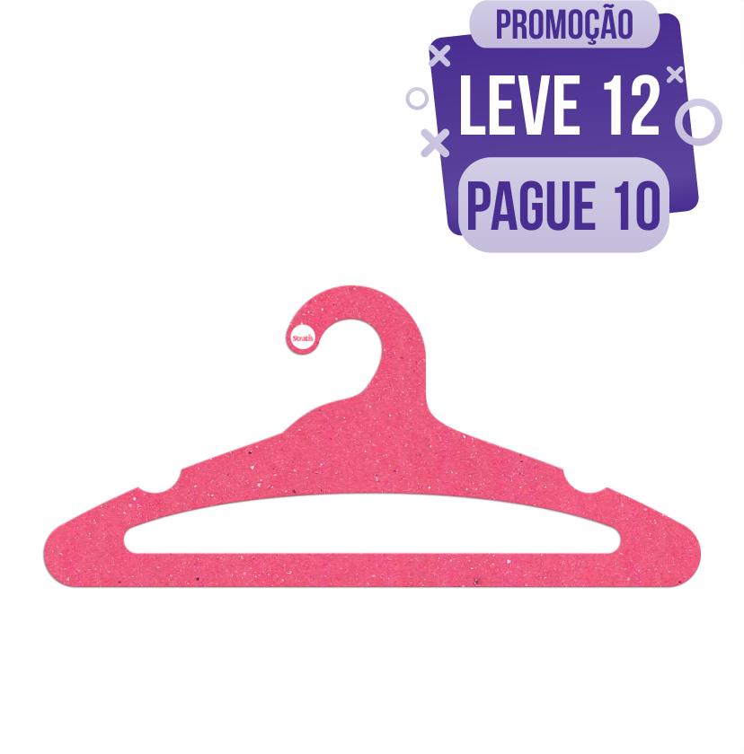Leve 12 Pague 10  - Cabide Ecológico Adulto Aberto -  Rosa - CS105