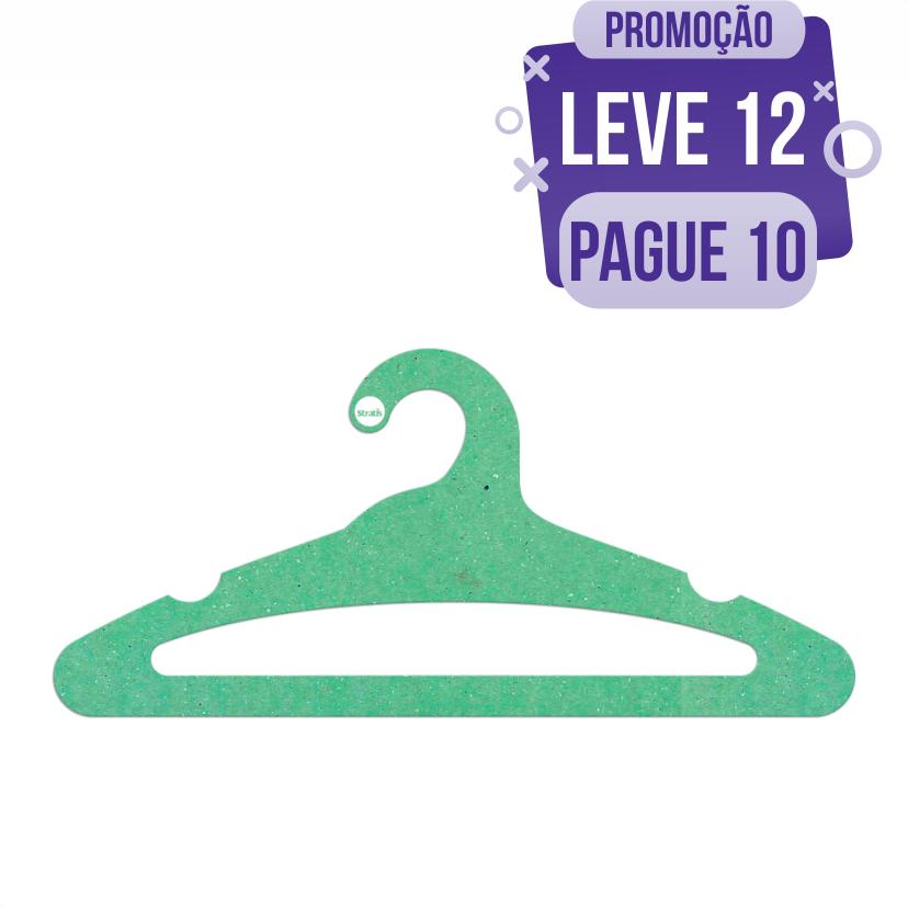 Leve 12 Pague 10  - Cabide Ecológico Adulto Aberto -  Verde Claro - CS105
