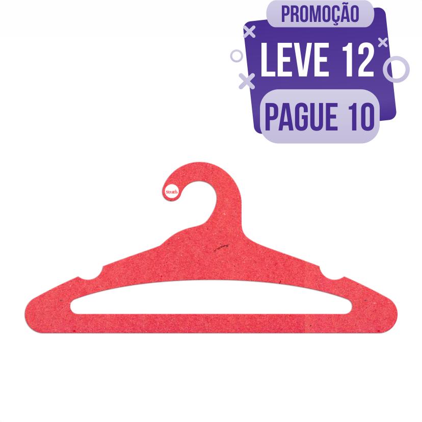 Leve 12 Pague 10  - Cabide Ecológico Adulto Aberto -  Vermelho - CS105