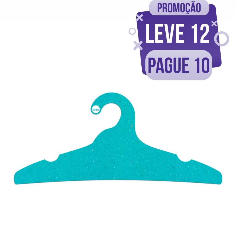 Leve 12 Pague 10  - Cabide Ecológico Adulto -  Azul Ciano - CS104