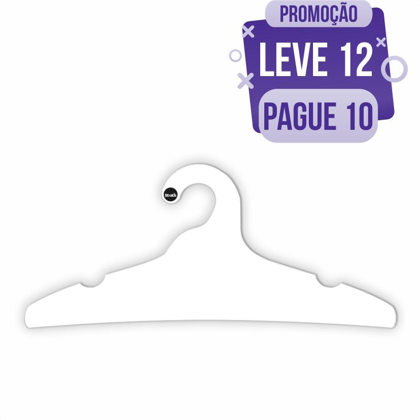 Leve 12 Pague 10  -Cabide Ecológico Adulto -Branco - CS104