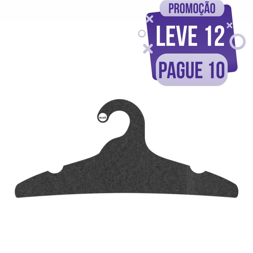 Leve 12 Pague 10  - Cabide Ecológico Adulto - Preto - CS104