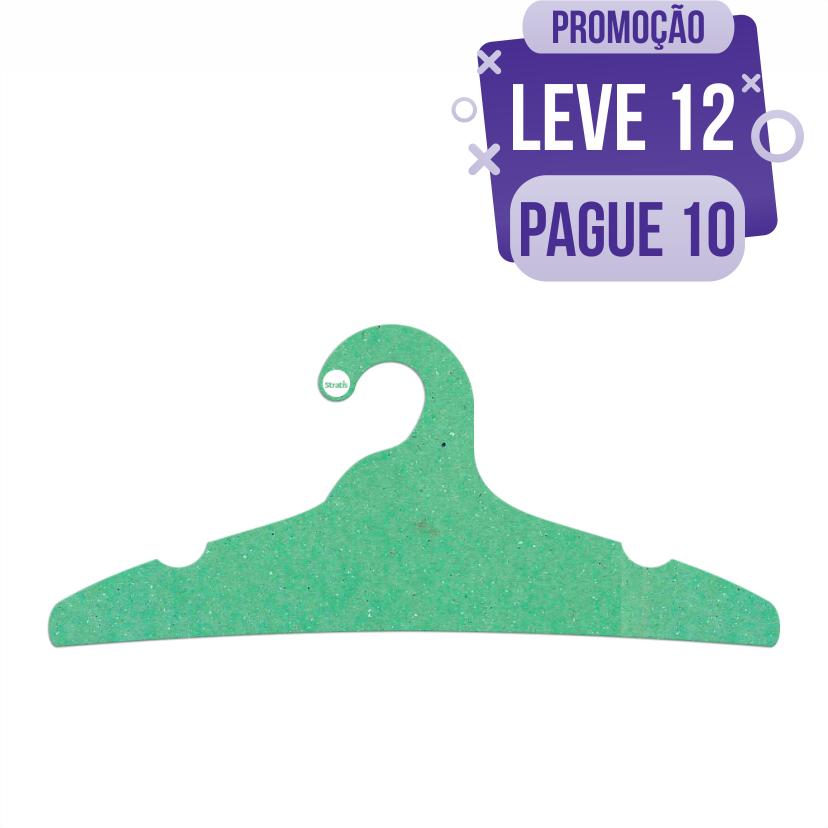Leve 12 Pague 10  - Cabide Ecológico Adulto -  Verde Claro - CS104