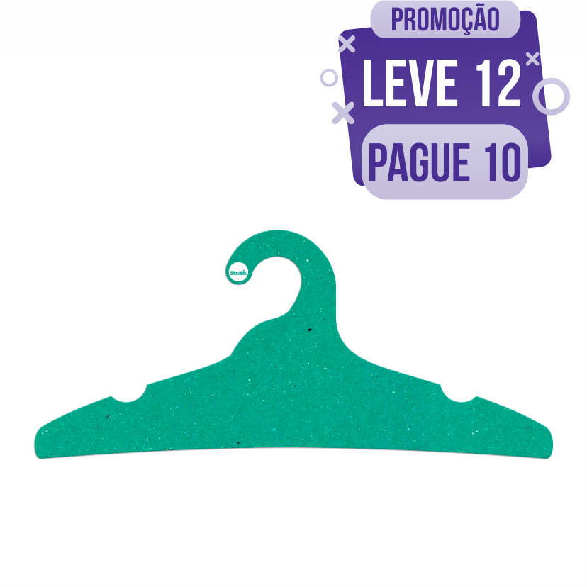 Leve 12 Pague 10  - Cabide Ecológico Adulto -  Verde - CS104