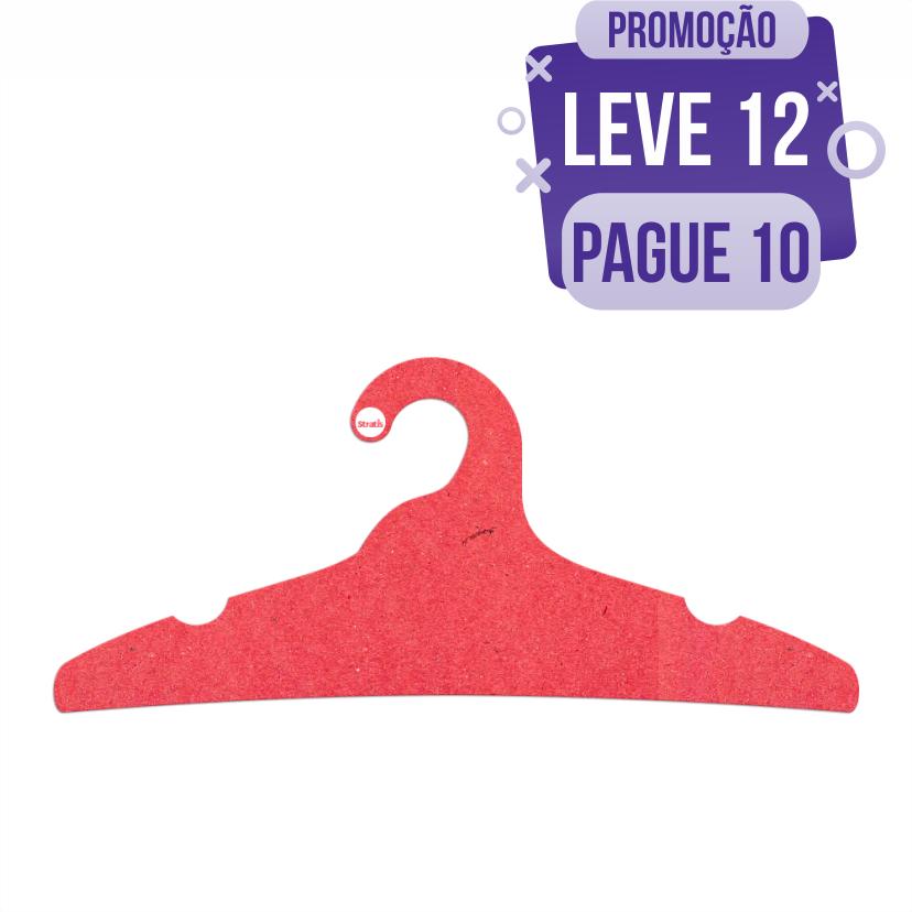 Leve 12 Pague 10  - Cabide Ecológico Adulto -  Vermelho - CS104