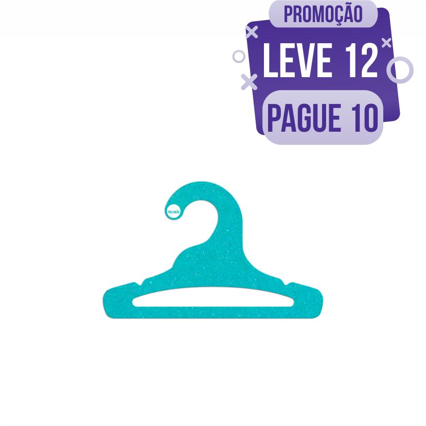 Leve 12 Pague 10  - Cabide Ecológico Infantil Aberto  - Azul Ciano - CS101
