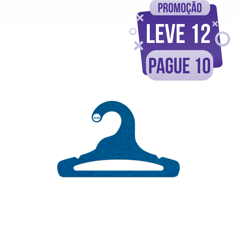 Leve 12 Pague 10  - Cabide Ecológico Infantil Aberto - Azul Royal - CS101