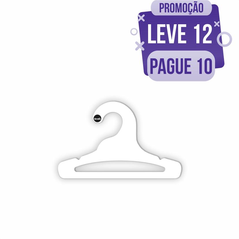 Leve 12 Pague 10  - Cabide Ecológico Infantil Aberto - Branco - CS101