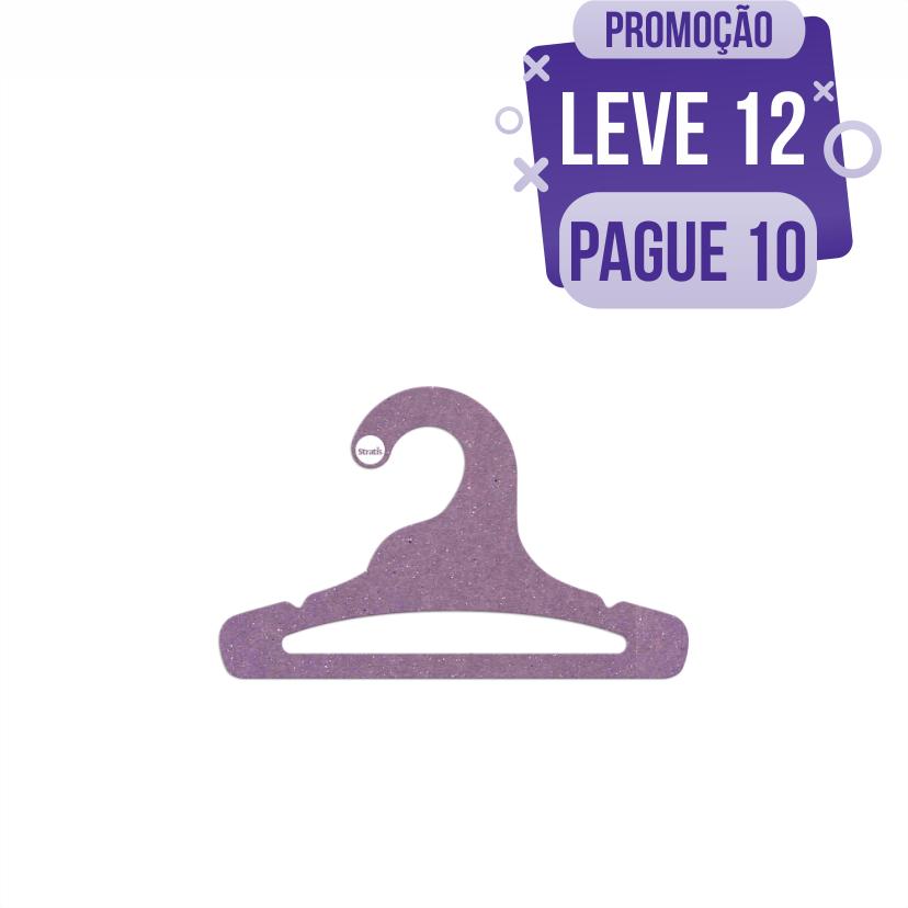 Leve 12 Pague 10  - Cabide Ecológico Infantil Aberto  -Lilás - CS101