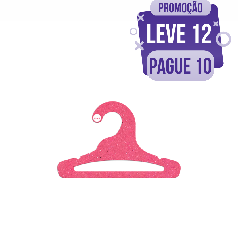 Leve 12 Pague 10  - Cabide Ecológico Infantil Aberto - Rosa - CS101