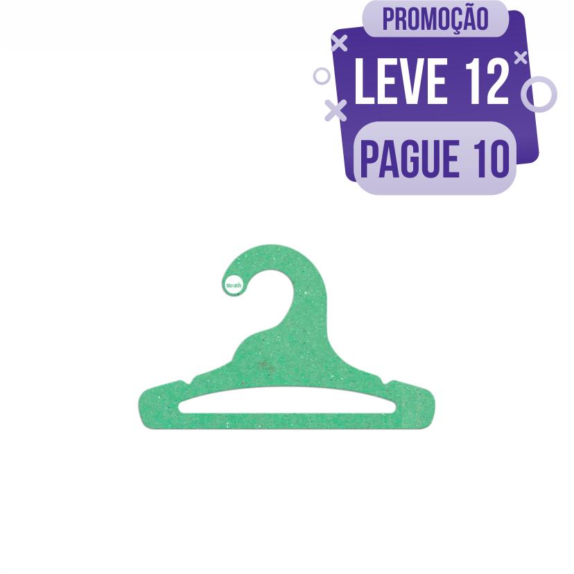 Leve 12 Pague 10  - Cabide Ecológico Infantil Aberto  - Verde Claro - CS101