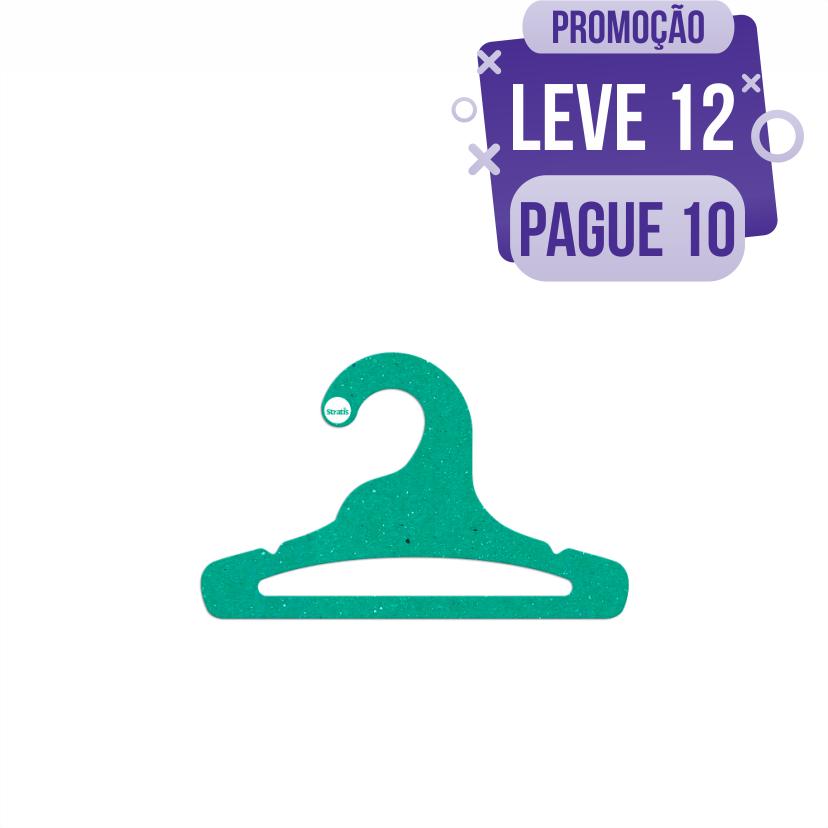 Leve 12 Pague 10  - Cabide Ecológico Infantil Aberto  - Verde - CS101