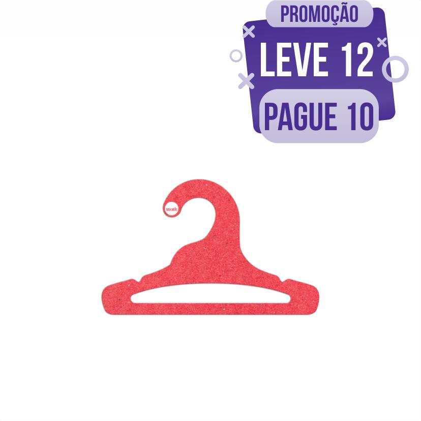 Leve 12 Pague 10  - Cabide Ecológico Infantil Aberto  - Vermelho - CS101
