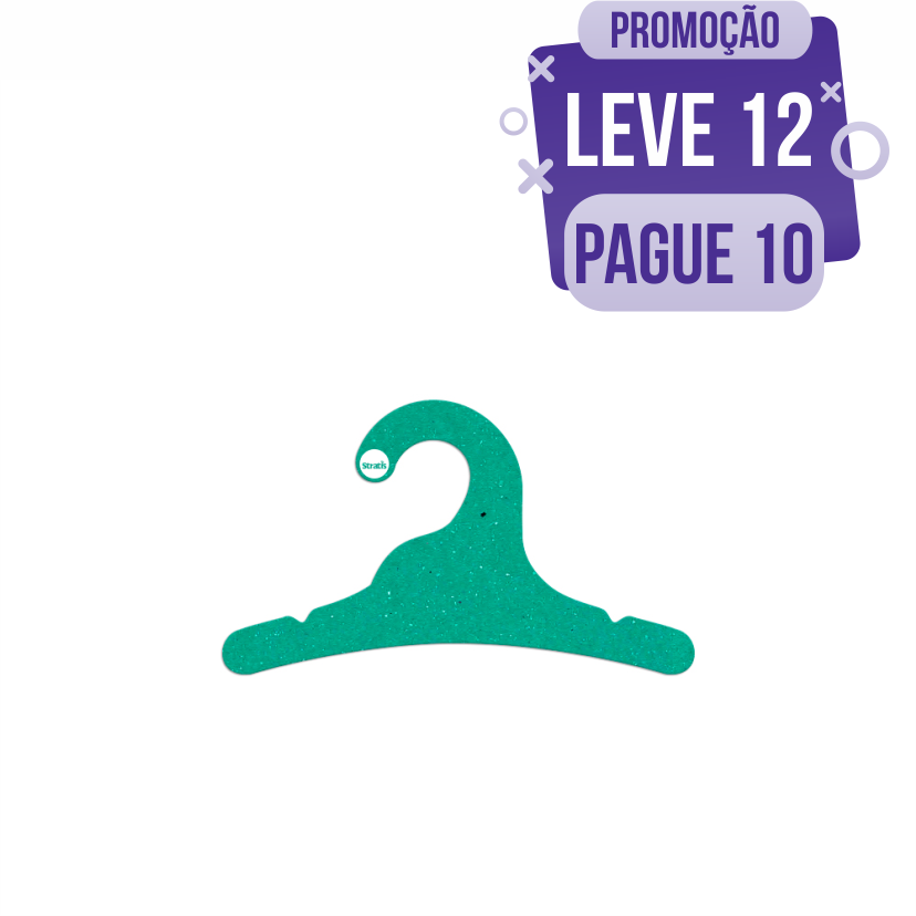 Leve 12 Pague 10  - Cabide Ecológico Infantil - Verde - CS100