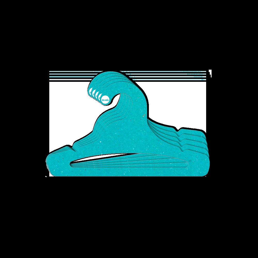 Leve 12 Pague 10  - Cabide Ecológico Juvenil Aberto - Azul Ciano - CS103