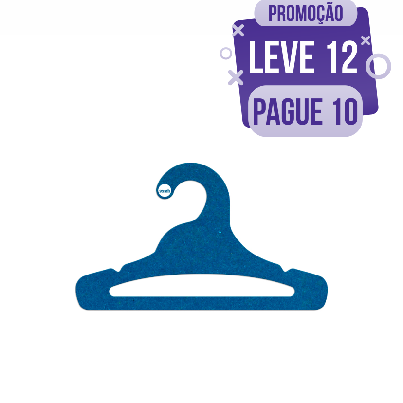 Leve 12 Pague 10  - Cabide Ecológico Juvenil Aberto - Azul Royal - CS103