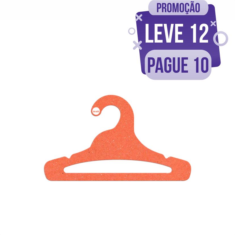 Leve 12 Pague 10  - Cabide Ecológico Juvenil  Aberto - Laranja - CS103