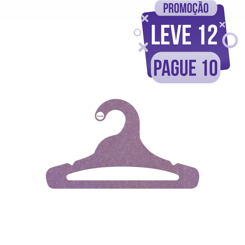 Leve 12 Pague 10  - Cabide Ecológico Juvenil Aberto - Lilás - CS103