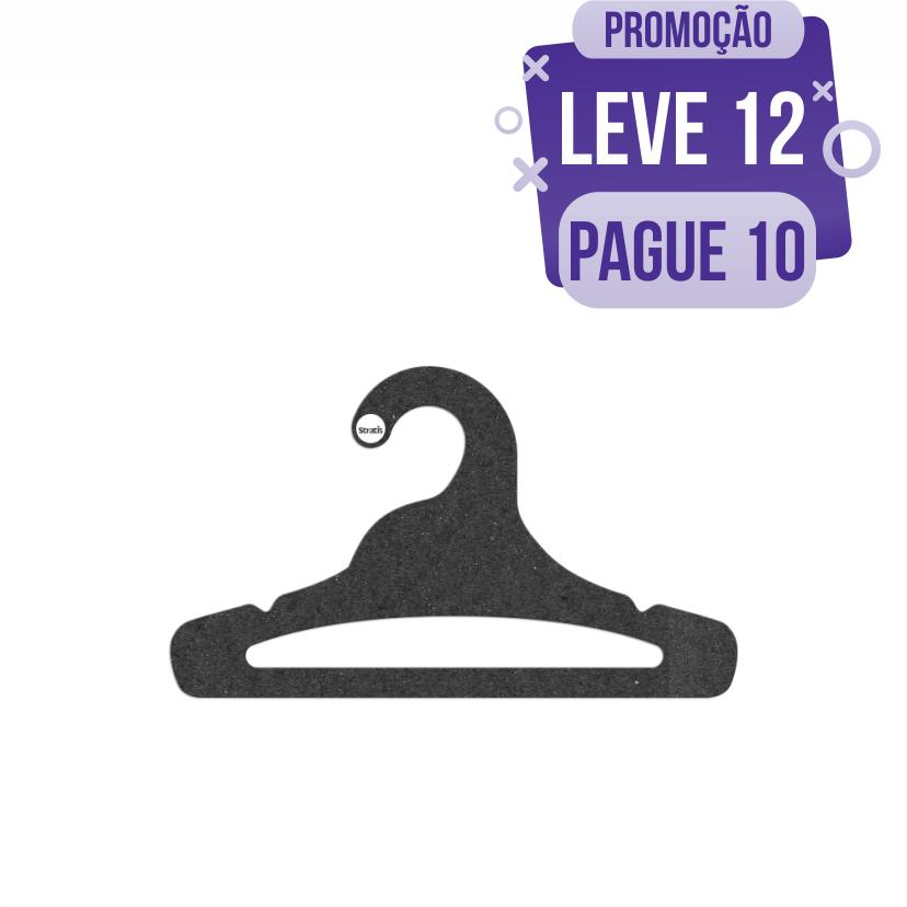 Leve 12 Pague 10  - Cabide Ecológico Juvenil Aberto- Preto - CS103