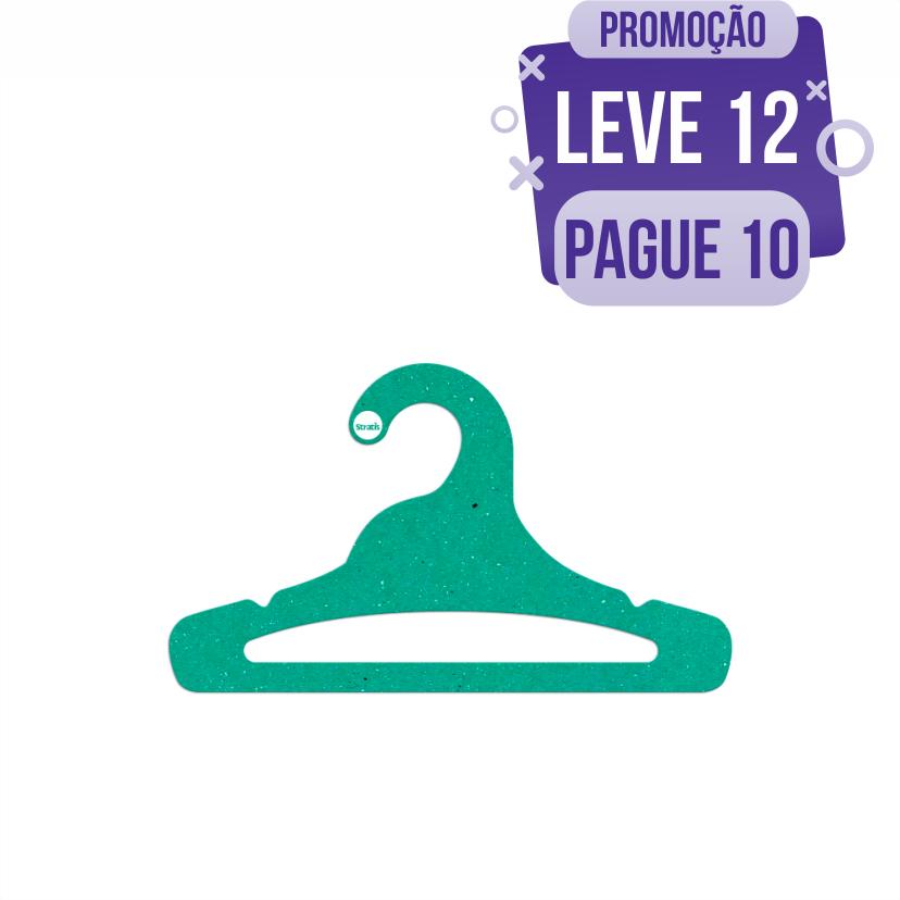 Leve 12 Pague 10  - Cabide Ecológico Juvenil Aberto - Verde - CS103