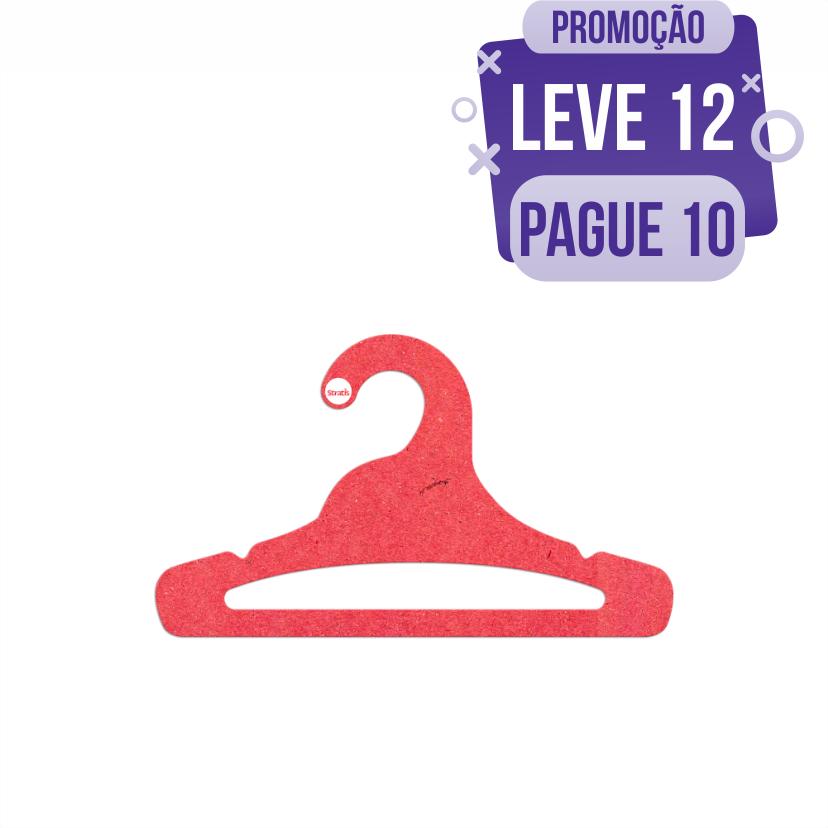 Leve 12 Pague 10  - Cabide Ecológico Juvenil Aberto - Vermelho - CS103
