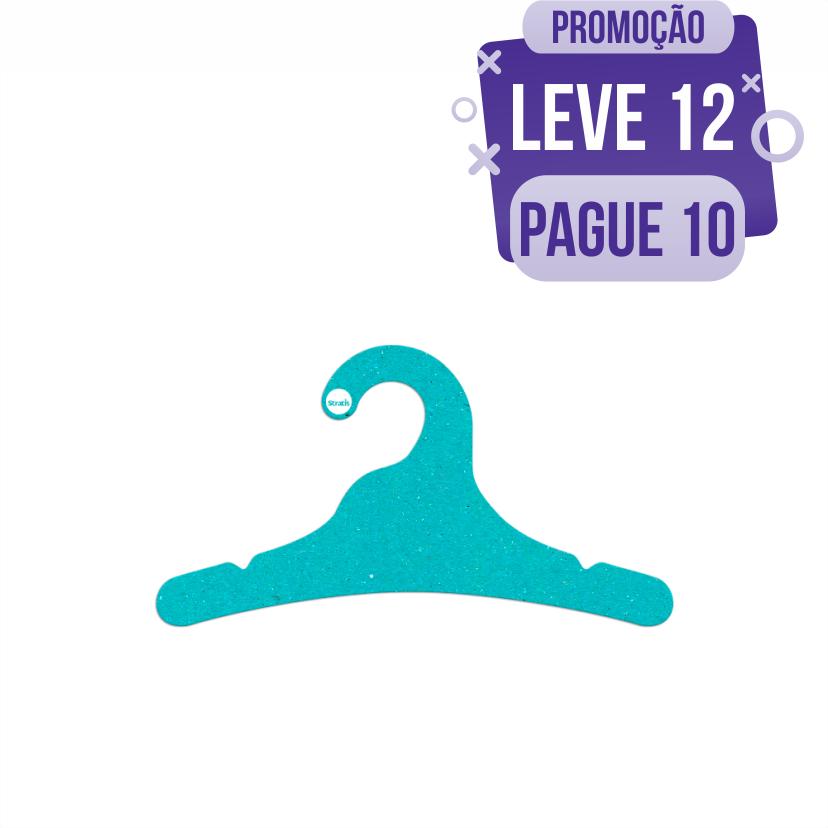 Leve 12 Pague 10  - Cabide Ecológico Juvenil- Azul Ciano - CS102