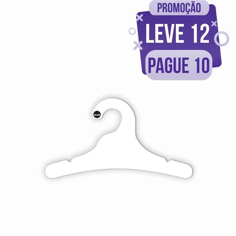 Leve 12 Pague 10  - Cabide Ecológico Juvenil- Branco - CS102