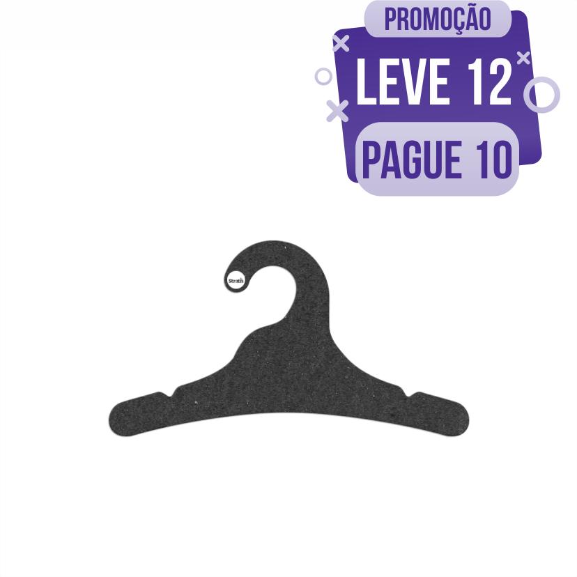 Leve 12 Pague 10  - Cabide Ecológico Juvenil- Preto - CS102