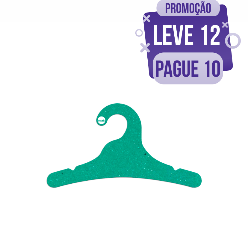 Leve 12 Pague 10  - Cabide Ecológico Juvenil- Verde - CS102
