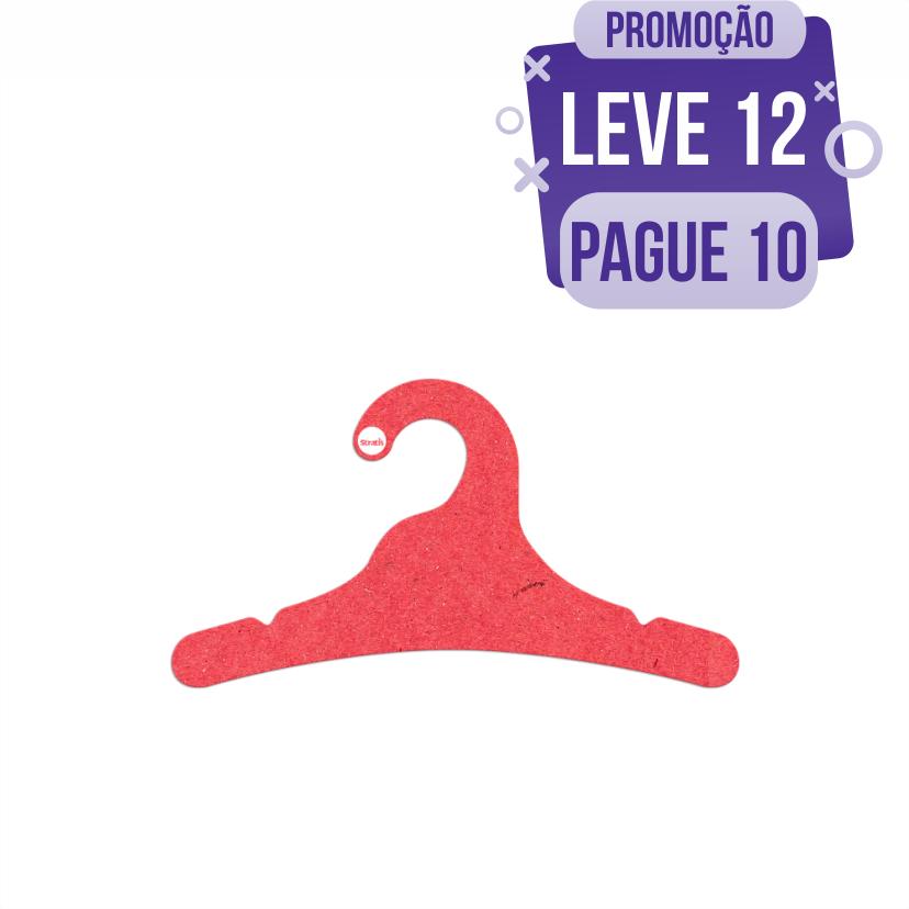 Leve 12 Pague 10  - Cabide Ecológico Juvenil- Vermelho - CS102
