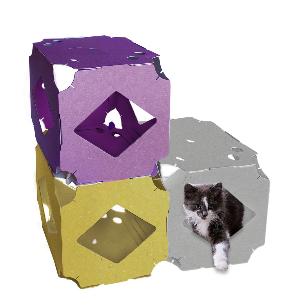 Trio PlayCat Brinquedo Ecológico Modular para Gatos