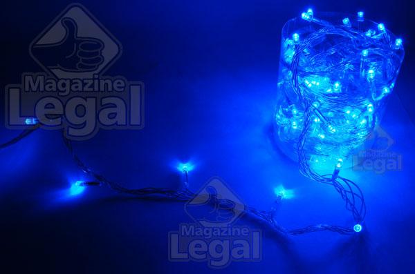 100 Leds Azuis FIXO - Cordão de Luzes Natalinas Baixo Consumo 8 Mts. - Magazine Legal