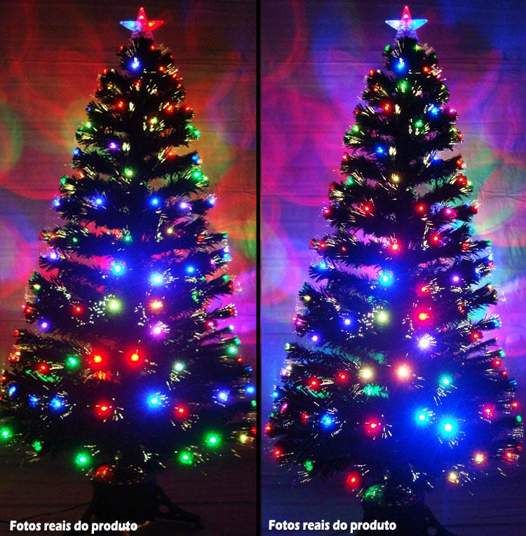 Árvore de Natal 1,50 Mts. com Fibra Ótica - 165 Galhos e Leds Coloridos - Magazine Legal