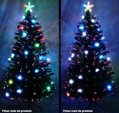 Árvore de Natal Iluminada por Fibras Óticas e Leds Coloridos de 1,20 Mts. - Magazine Legal