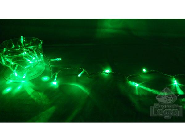 Pisca FIXO 100 Leds Verdes - Cordão de Luzes Natalinas Baixo Consumo - Magazine Legal