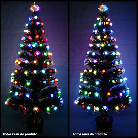 Arvore de Natal 1,20 Mts Fibra Otica e Led de Bolinhas Coloridas - Magazine Legal