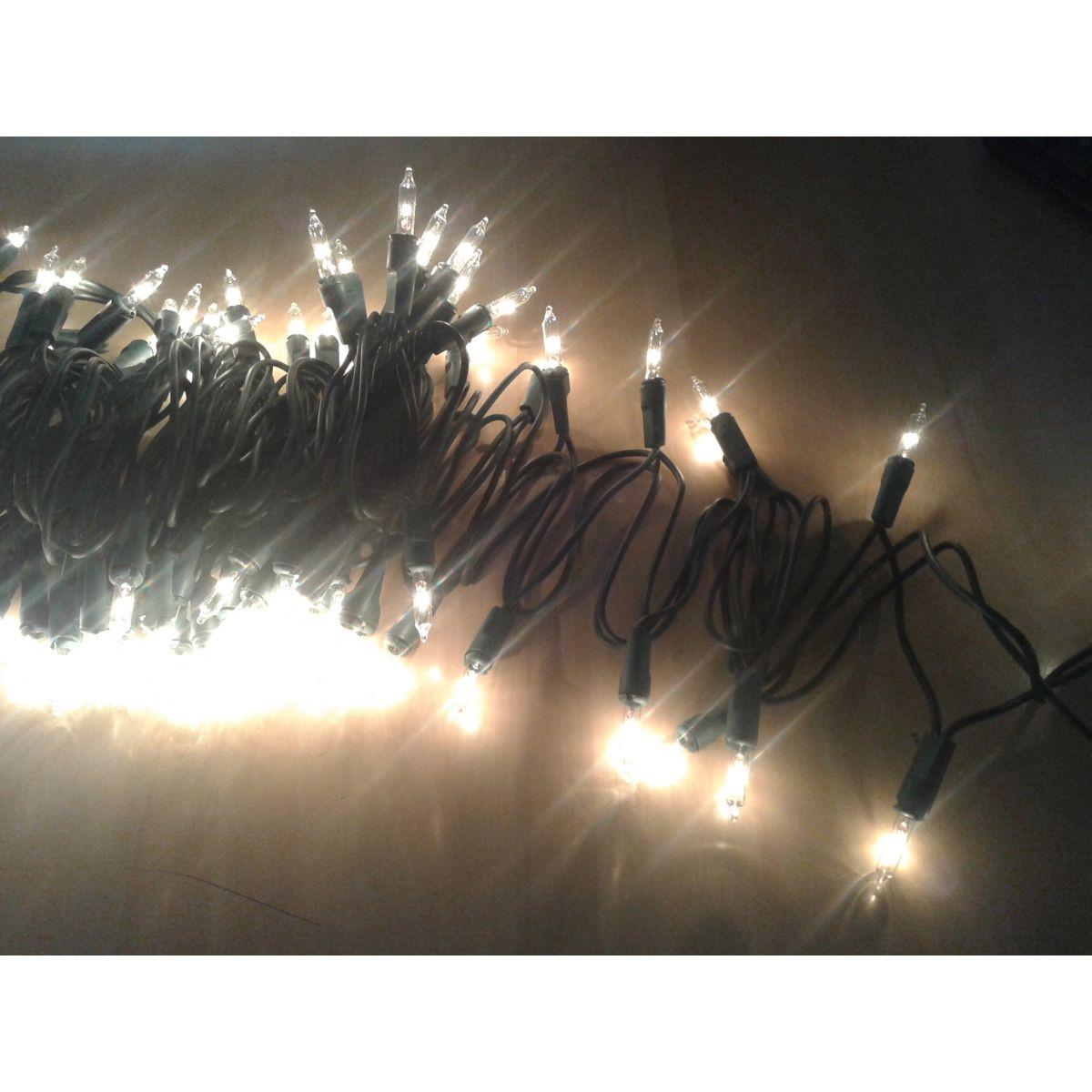 Pisca Padrão UL - Fio Verde 100 Lampadas Luzes Brancas FIXO (Não pisca) - 6,5 Mts. - Magazine Legal