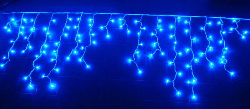 Cascata com 300 Leds Azuis Super Brilho e Sequencial - 6 Mts - Magazine Legal