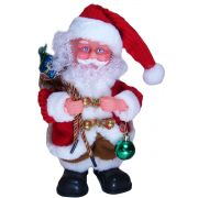 Papai Noel Dançarino Roupa Vermelha e Marrom com Bolinha de Natal e Saco de Presente
