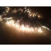Pisca Padrão UL - Fio Branco 100 Lampadas Luzes Brancas FIXO (Não pisca) - 6,5 Mts.