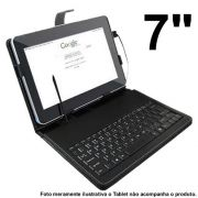 Case Tablet 7�� Teclado Usb + Caneta Colorida Couro Sint�tico - PCC-07 / ZQ-07