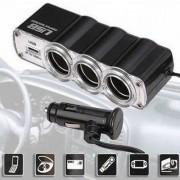 Adaptador Veicular Triplo Acendedor de Cigarro Automóvel 1 USB 12V/24V