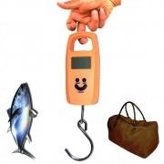 Balança Digital de Bagagem Mala Viagem Pesca 50 kg Gancho Laranja CBRN02634