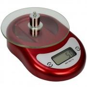 Balança Digital Luxo 5 kg Vidro Vermelho CBRN14217